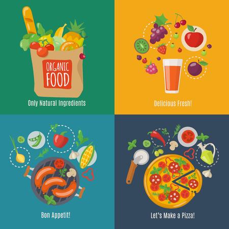 Infografica di cucina vettoriale. Disegni vettoriali di copertina del menu in stile piatto. Cibo vettoriale
