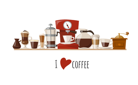 Vector coffee design with coffee icons. Food and drink elements. Coffee poster.
