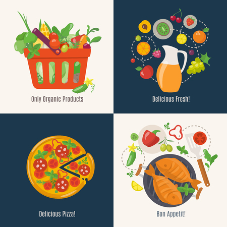 Vector cooking infographic in flat style with food food.