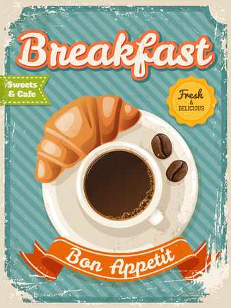 Vector coffee breakfast poster in vintage style with typography elements