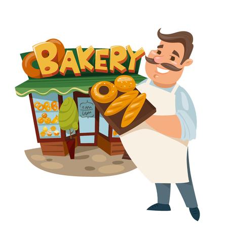 Vector illustration of a baker standing near a bakery. Vetores
