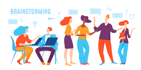 Vector concept business illustration of working and brainstorming people.
