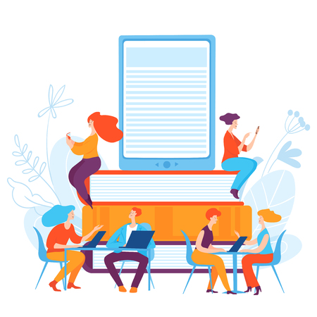 Vector illustration with people making on-line education.