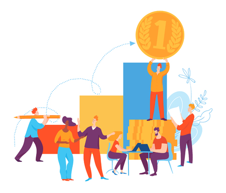 Vector illustration with cartoon business people thinking on goals and ideas. Brainstorming about earning money. Banque d'images - 124907016