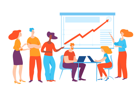 Vector concept  illustration with business people planning business