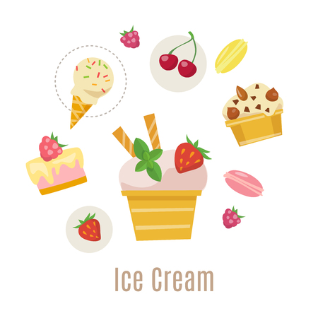 Ice cream vector infographic design. Summer food. Flat style ice cream infographic design. Banque d'images - 124779154