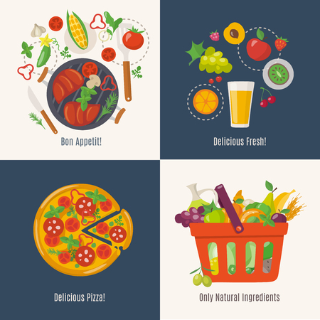 Set of four food designs with cooking infographic.