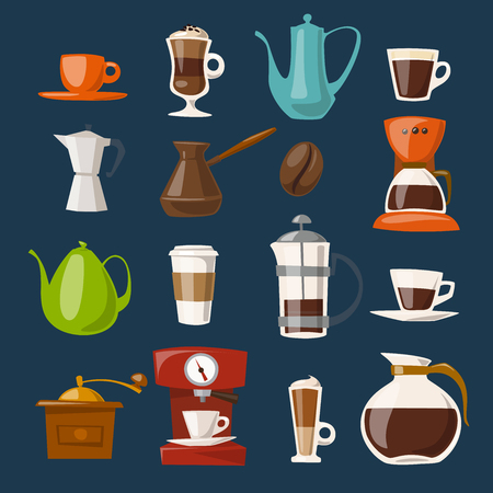 Vector coffee icons.Flat coffee icons. Food and drink elements. Coffee poster.