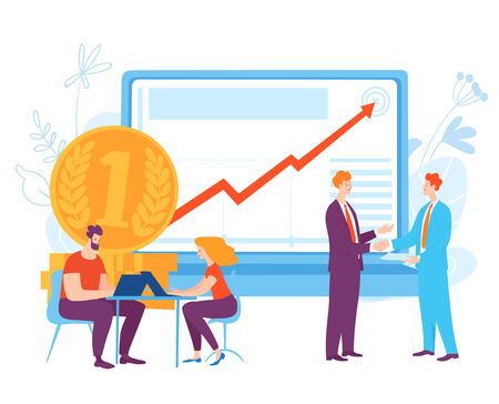 Vector illustration with cartoon business people planning business ideas and taking conversation. Money planning.