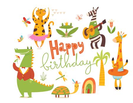 Happy birthday card. Big set of cartoon wild animals.