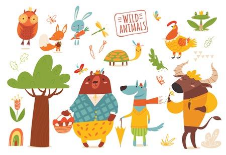 Big set of cartoon funny wild forest animals.