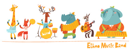 Vector music animals band characters. Vector musicians, cartoon animals playing music. Ethno music concert card