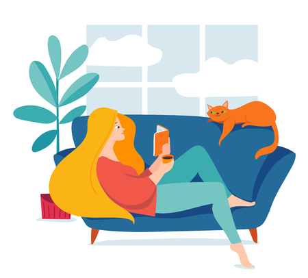 Hygge illustration with a womal reading a book
