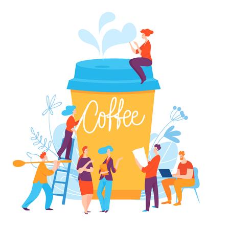Vector concept illustration with coffee break idea Ilustração