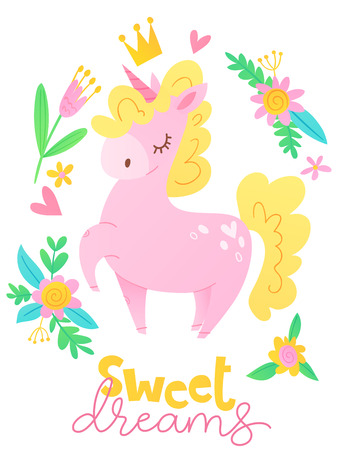 Cute vector happy birthday card with cartoon magic unicorn character and sweet dreams text Illustration