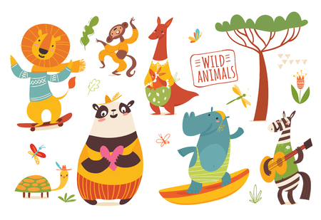 Big set of cartoon wild forest animals.