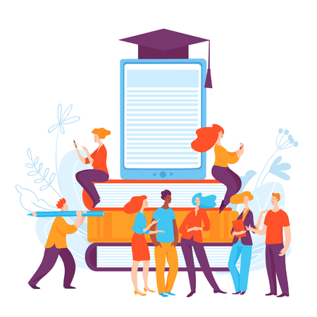 Vector concept  illustration with people in on-line education process