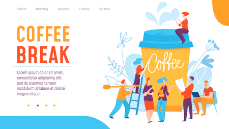Vector concept coffee break creative business illustration with working people.