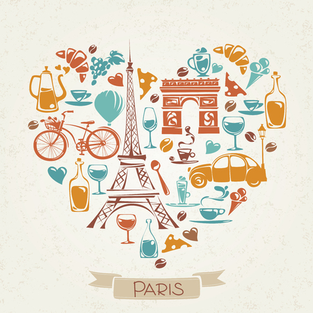 Vector I love Paris design with symbols of French culture.