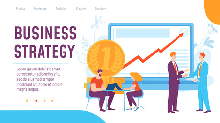 Vector concept business strategy creative business illustration with working people.