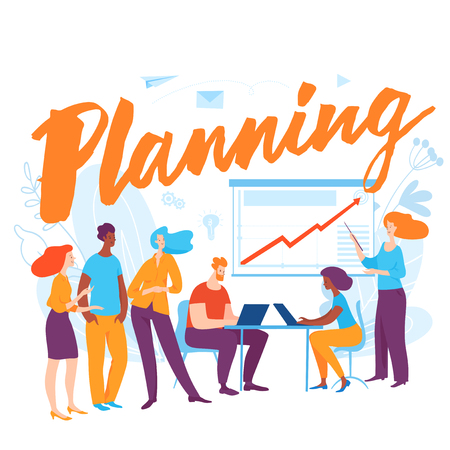Vector concept illustration with cartoon people planning business
