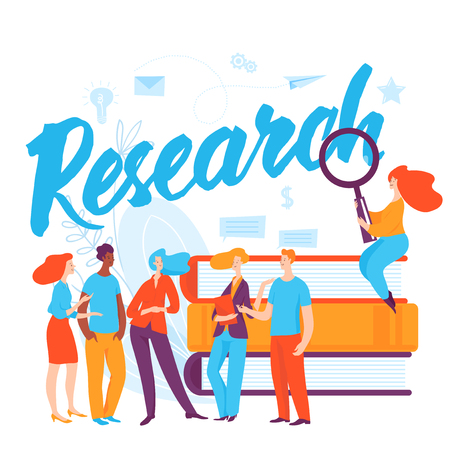Vector concept research business illustration with cartoon thinking people.