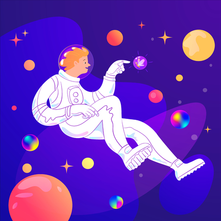 Vector design with astronaut and stars and planets. Astronaut meets a funny creature in Universe. Good for t-shirt, bag print design. Galaxy meeting. 向量圖像