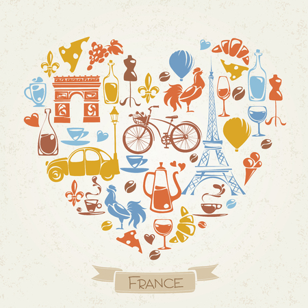 Vector I love France design with symbols of  French culture.