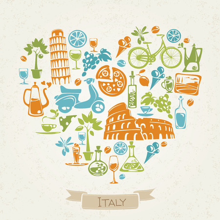 Vector I love Italy design. Heart shaped pattern in Italian theme. Symbols of Italy. Flat icons. Good for print on gifts, t-shirt, bag.