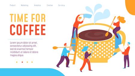 Vector concept coffee time creative business illustration with people. Coffee break concept design. Great design for presentation, web, internet, advertisement. Ilustração