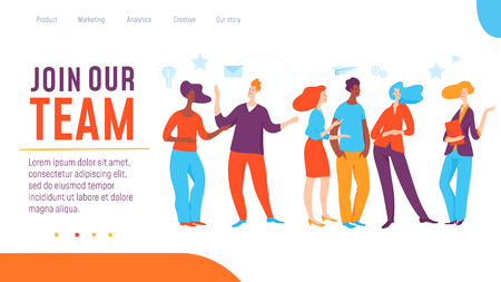 Vector deram team concept creative business illustration. People communikate, create ideas for success. Great for human resourse presentation, internet, advertisement. Landing page template