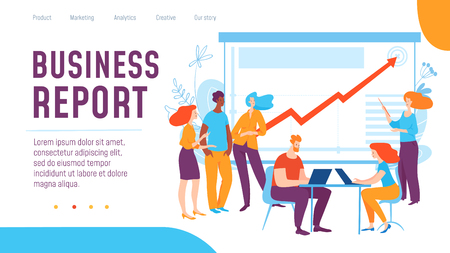 Vector concept business report creative business illustration with working people. Stock Illustratie