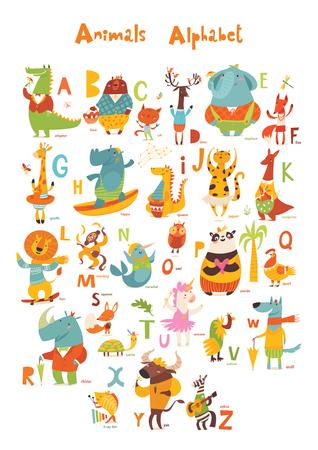 Animales ABC. Alfabeto de animales completo. Conjunto de divertidos animales salvajes dibujados a mano. Ideal para sus ideas de diseño, tarjetas, carteles y decoración de habitaciones para niños.
