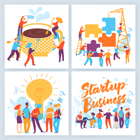 Vector concept business illustration. People do business, make decisions, communicate, make solutions and agreements. Great design for presentation, web, internet, advertisement. Landing page template Stock Illustratie