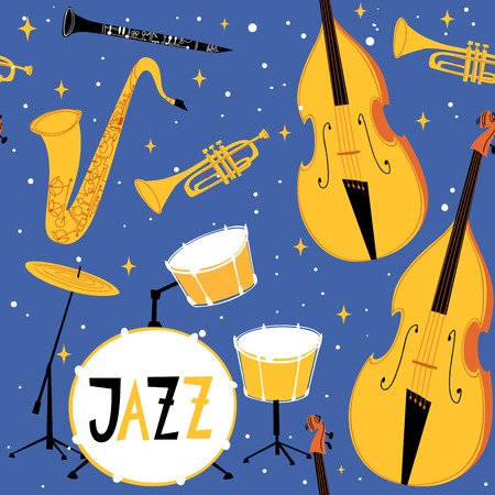 Vector jazz seamless pattern with musical instruments double bass, drums, trumpet and sax