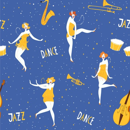 Vestor seamless pattern with dancing girls and musical instruments. Great for decor. Stock Illustratie