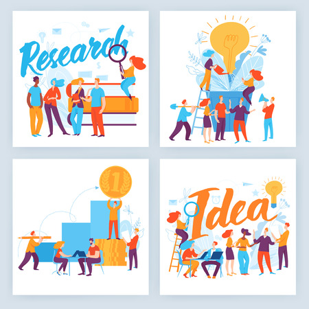 Vector concept business illustration. People do research, make decisions, communicate, make solutions and agreements. Great design for presentation, web, internet, advertisement. Landing page template