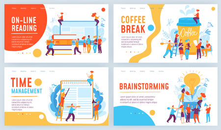 Set of four different vector business concept slide designs