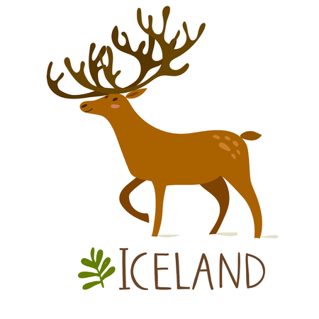 Iceland nature vector symbol deer with text Ilustração