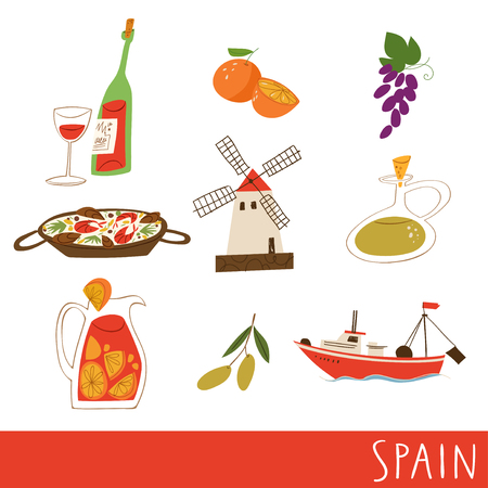Nine vector symbols of Spain. Great for print on poster, wall decor, bags, cards. Good for sticker set.