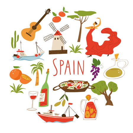 Nine vector symbols of Spain. Culture, food, ship and archtecture.