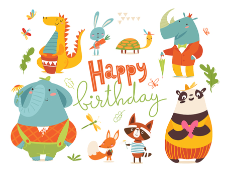Happy birthday card with wild animals. Cute funny happy animals characters. Stock Vector - 123136269