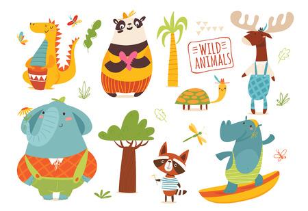 Big set of funny cartoon wild animals.