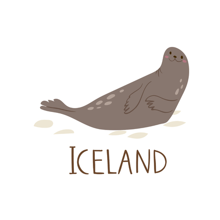 Cute Iceland nature vector animal symbol seal lying on the ice.