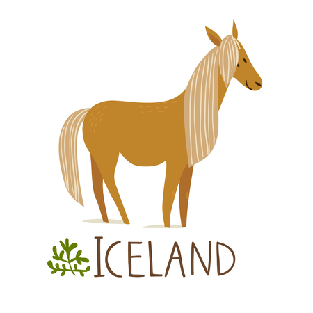 Iceland nature vector symbol horse with text