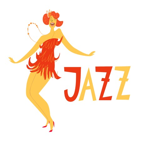 Cute card with vector dancing woman. Gesture drawing. Women dance jazz. Stock Illustratie