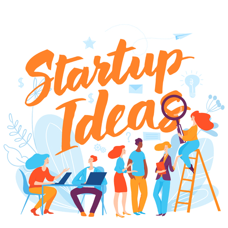 Vector concept startup idea business illustration with cartoon working people. 向量圖像
