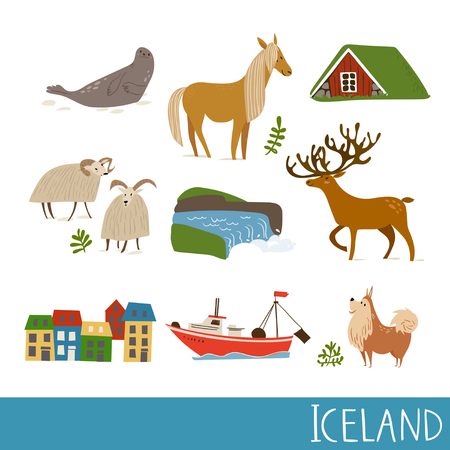 Set of Iceland nature vector symbols with landscapes, animals and architecture.
