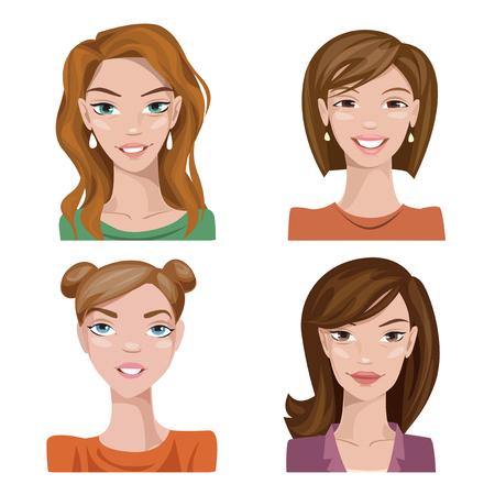 Conjunto de personajes femeninos de color estilizado vectorial. Avatares vectoriales. Retratos vectoriales de mujeres frescas. Ilustración de vector