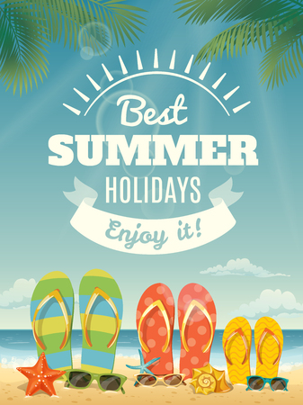Vector summer poster with summer elements. Best summer holidays banner with lettering and flip flops Illustration